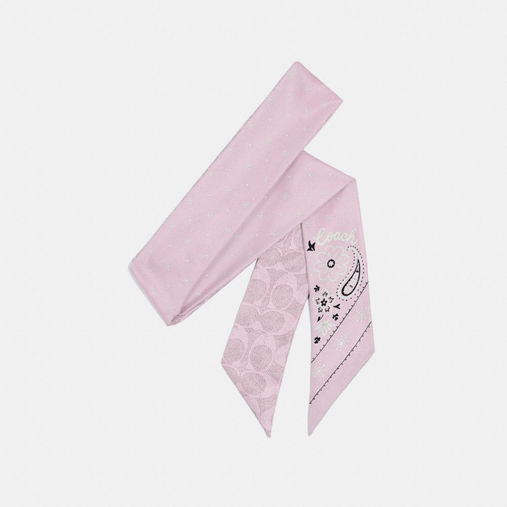 Coach Bandana Print Silk Skinny Scarf