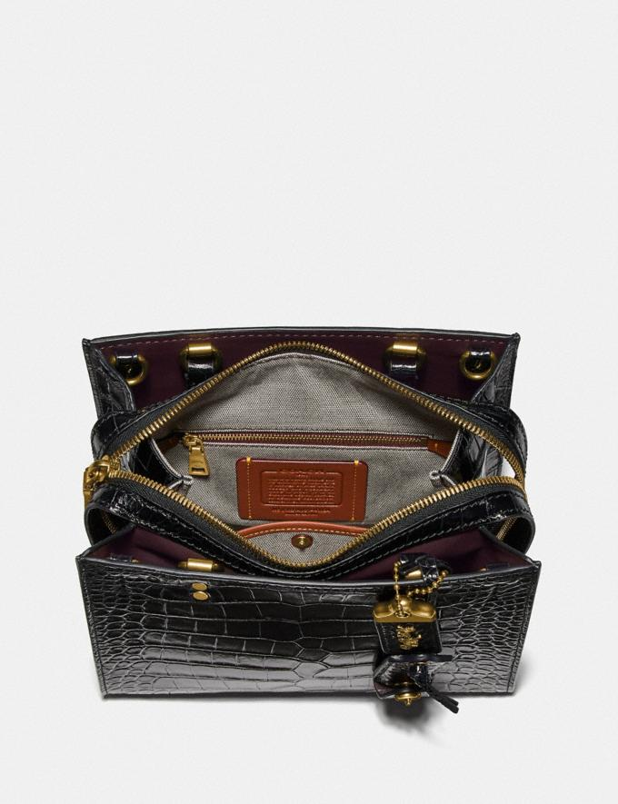 Coach Rogue 25 in Alligator Brass/Black Women Handbags Satchels & Top Handles Alternate View 2