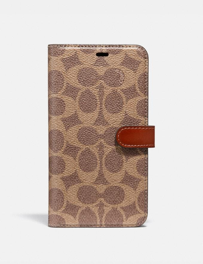 Coach iPhone 11 Pro Max Folio in Signature Canvas Tan Women Accessories Tech & Work