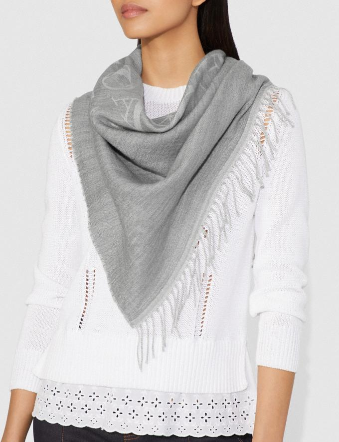Coach Rexy and Carriage Oversized Triangle Light Grey/Chalk Women Accessories Scarves Alternate View 1