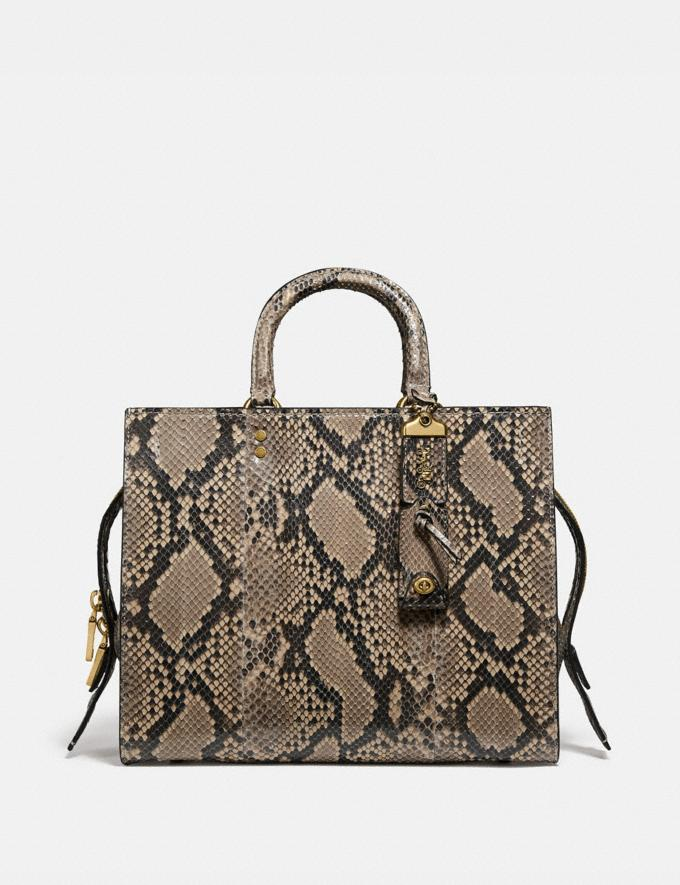 Coach Rogue in Python Brass/Roccia Lucido Women Bags Shoulder Bags