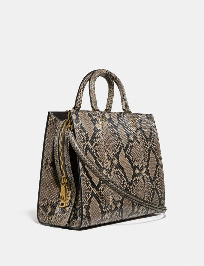Coach Rogue in Python Brass/Roccia Lucido Women Bags Shoulder Bags Alternate View 1