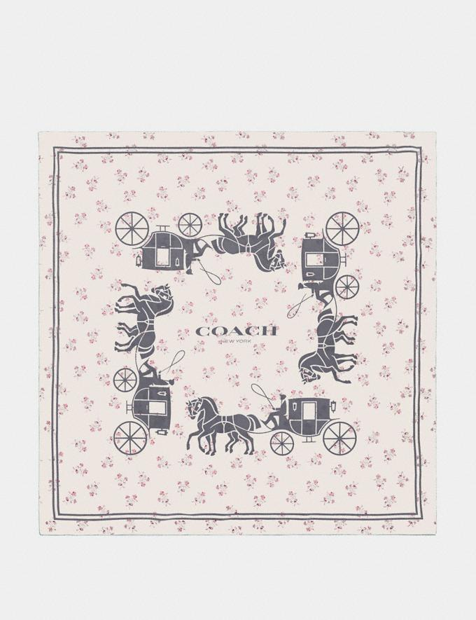 Coach Horse and Carriage Silk Square Scarf Chalk Women Accessories Scarves