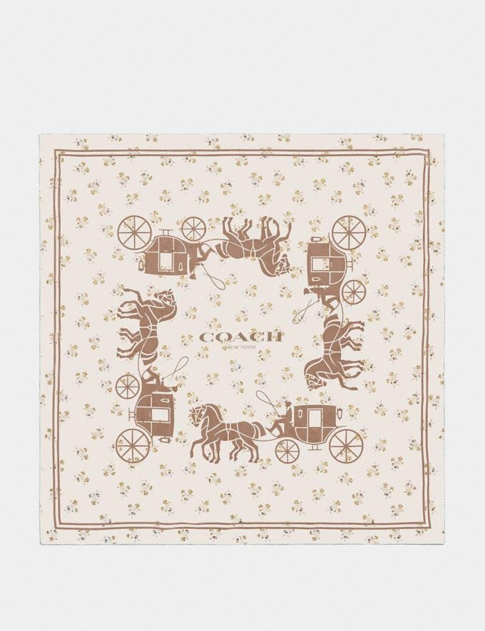 Coach Horse and Carriage Silk Square Scarf Chalk/Beechwood Women Accessories Scarves