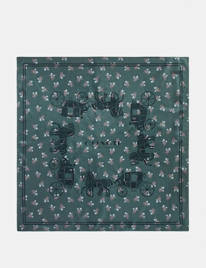 Coach Horse and Carriage Silk Square Scarf Dark Turquoise Women Accessories Scarves and Gloves