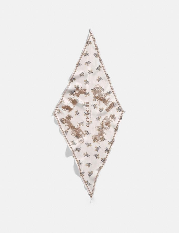 Coach Horse and Carriage Silk Diamond Scarf Chalk/Beechwood Women Accessories Hats Scarves and Gloves