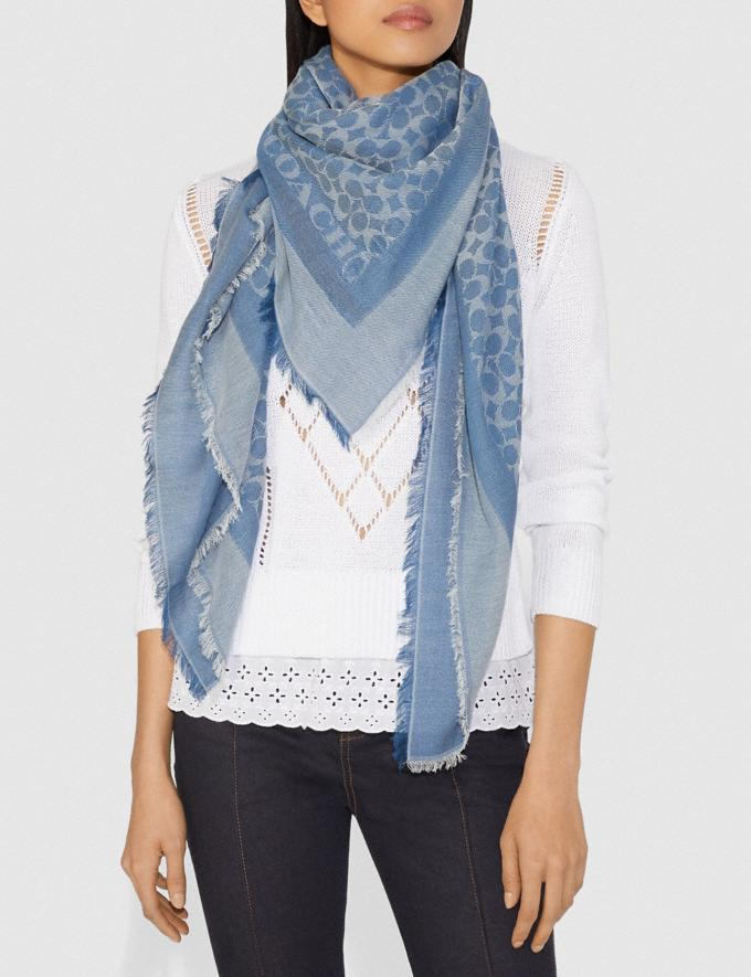 Coach Signature Jacquard Oversized Square Scarf Dark Denim Women Accessories Hats Scarves and Gloves Alternate View 1