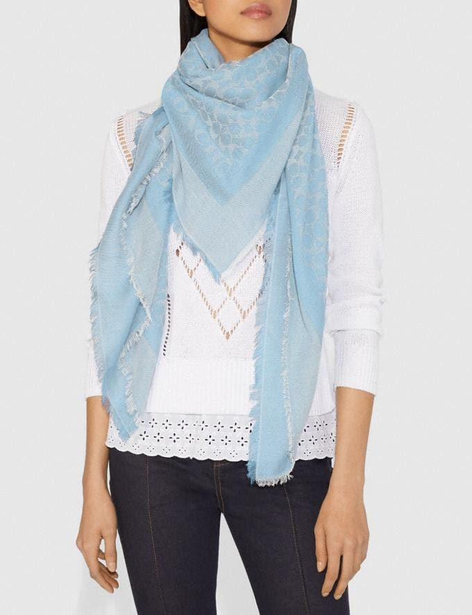 Coach Signature Jacquard Oversized Square Scarf Light Denim Women Accessories Scarves and Gloves Alternate View 1