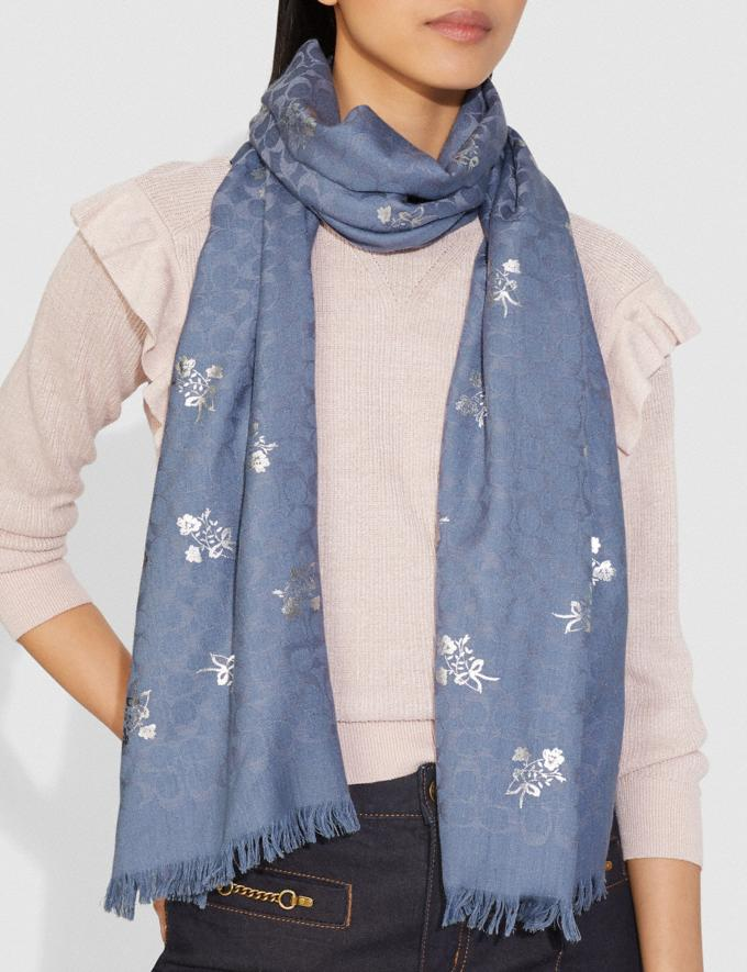Coach Signature Floral Bow Print Stole Light Denim Women Accessories Scarves Alternate View 1