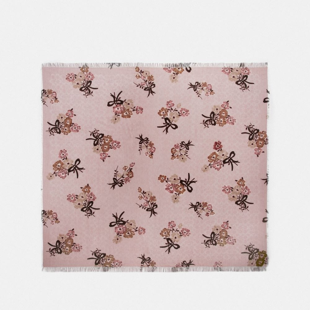 signature painted floral bow print oversized square scarf