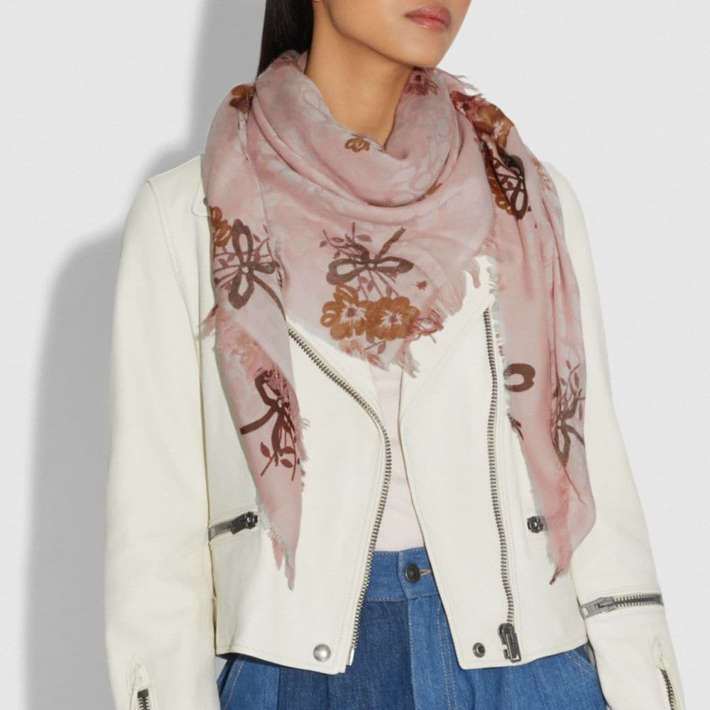 Coach SIGNATURE PAINTED FLORAL BOW PRINT OVERSIZED SQUARE SCARF Alternate View 1