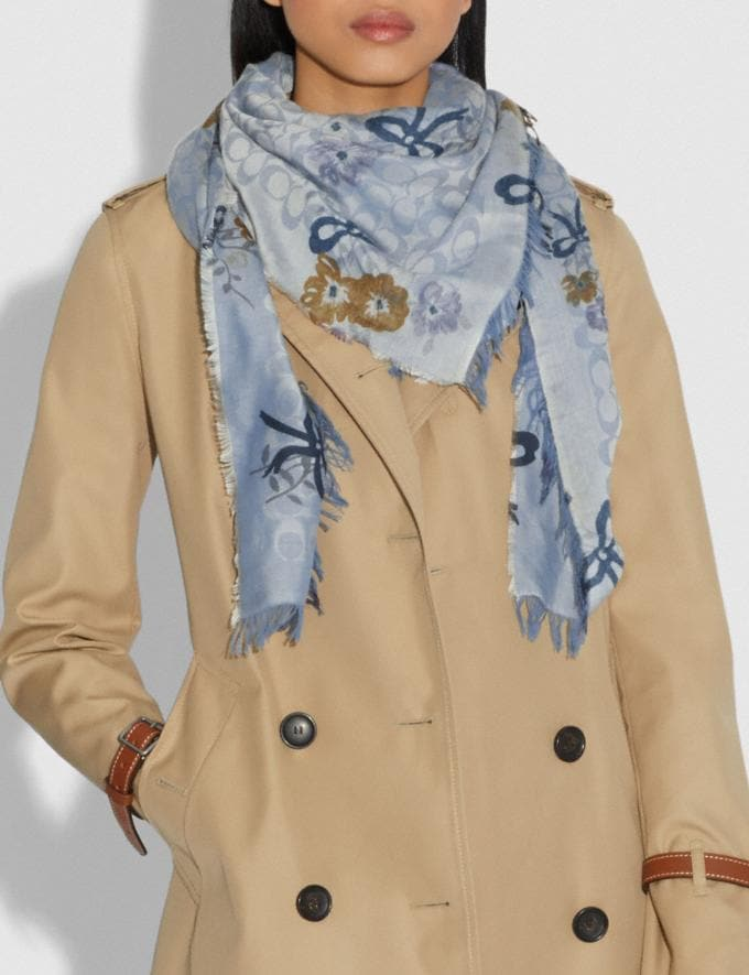 Coach Signature Painted Floral Bow Print Oversized Square Scarf Light Denim Women Accessories Hats Scarves and Gloves Alternate View 1