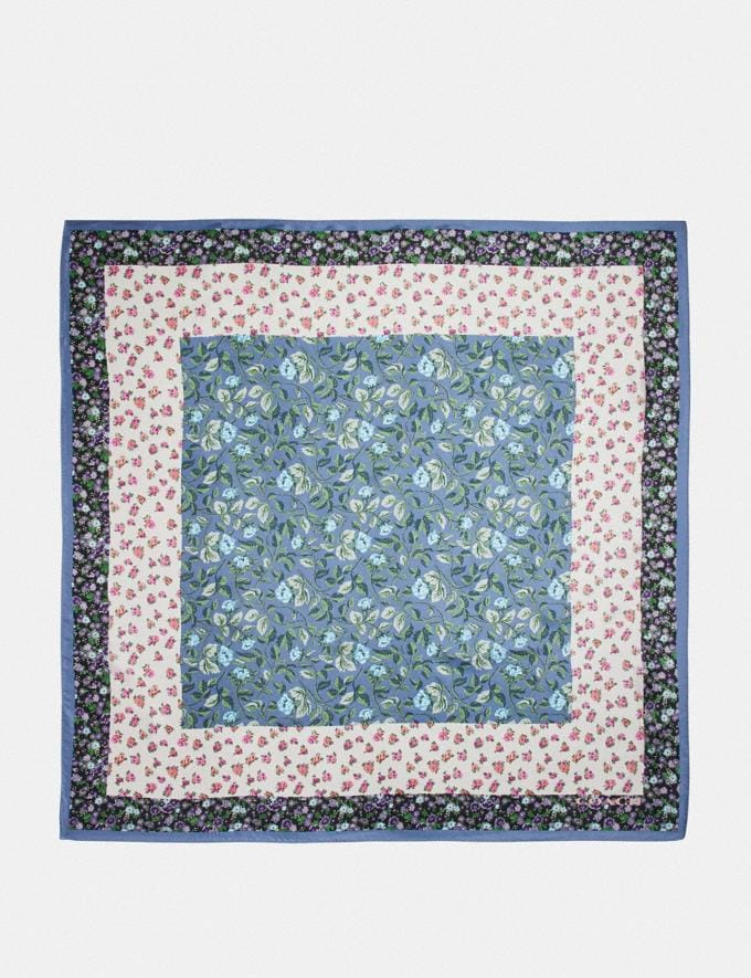 Coach Sleeping Rose Print Silk Square Scarf Blue Women Accessories Scarves