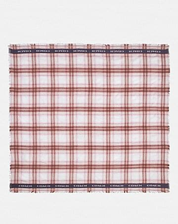 LIGHTWEIGHT PLAID PRINT OVERSIZED SQUARE SCARF