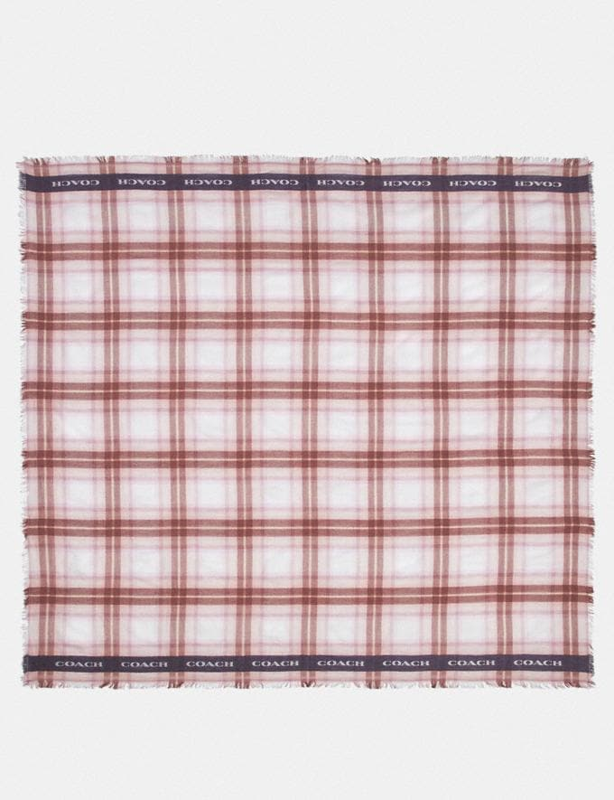 Coach Lightweight Plaid Print Oversized Square Scarf Blossom Women Accessories Scarves