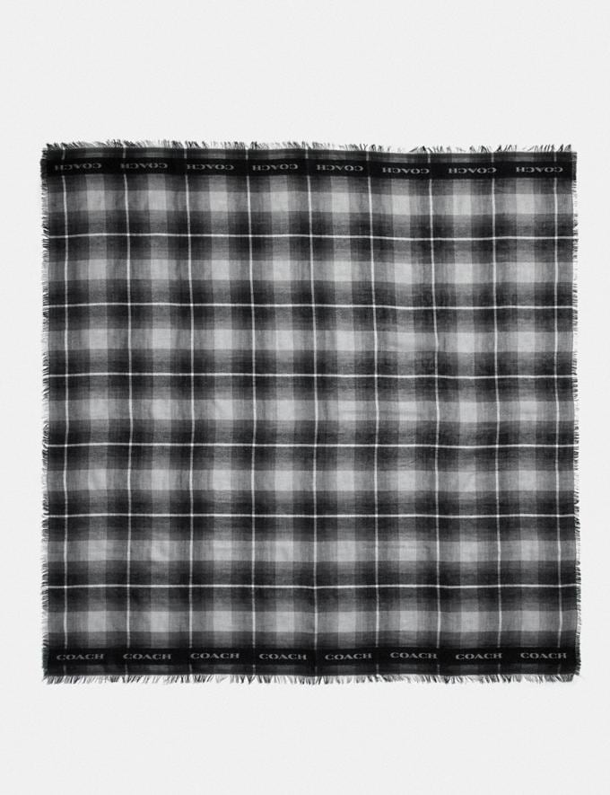 Coach Lightweight Plaid Print Oversized Square Scarf Black Women Accessories Scarves and Gloves