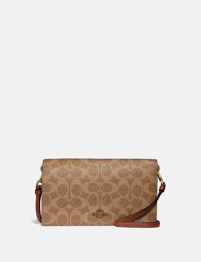 Coach Hayden Foldover Crossbody Clutch in Colorblock Signature Canvas B4/Tan Rust Women Bags Signature Bags