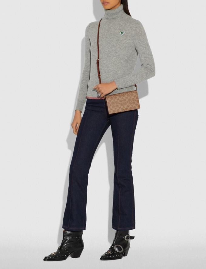 Coach Hayden Foldover Crossbody Clutch in Colorblock Signature Canvas B4/Tan Rust Damen Taschen Umhängetaschen Alternative Ansicht 4