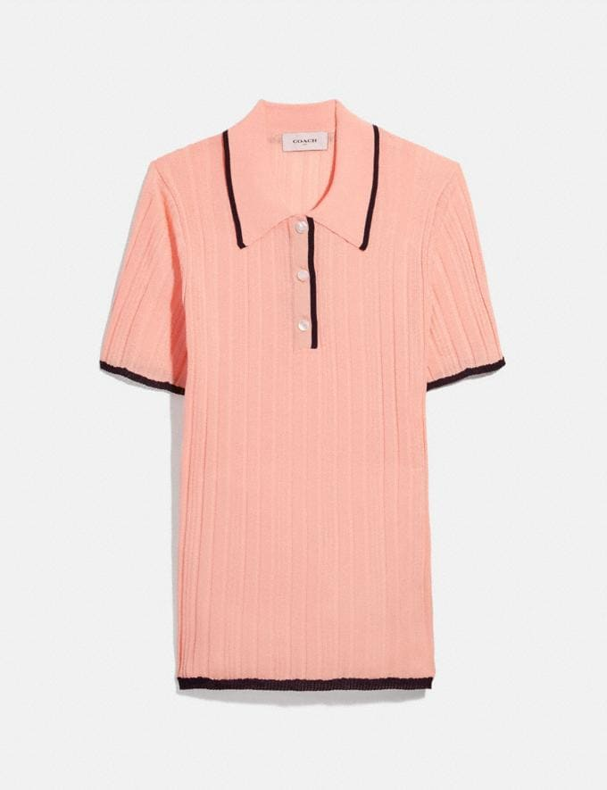 Coach Polo Sweater Light Coral Women Ready-to-Wear Tops & T-shirts