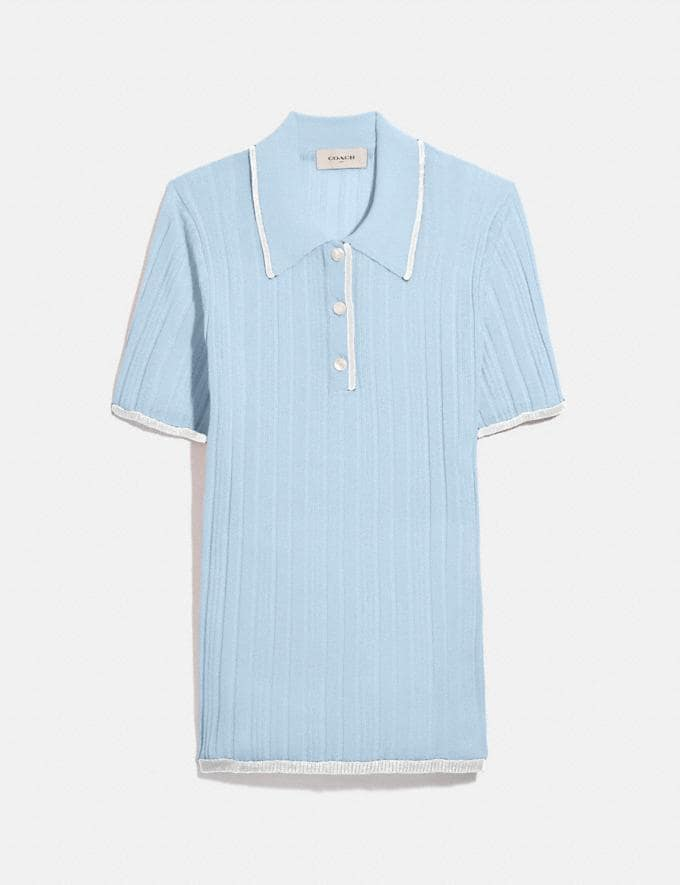 Coach Polo Sweater Powder Blue Women Ready-to-Wear Tops & T-shirts
