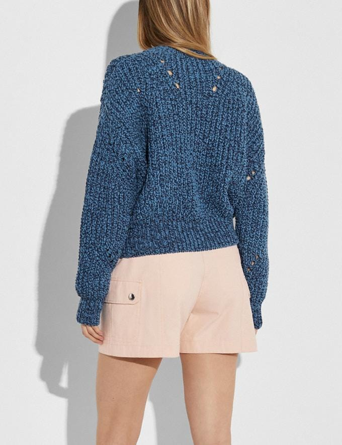 Coach Open Knit Sweater Navy New Women's New Arrivals Ready-to-Wear Alternate View 2