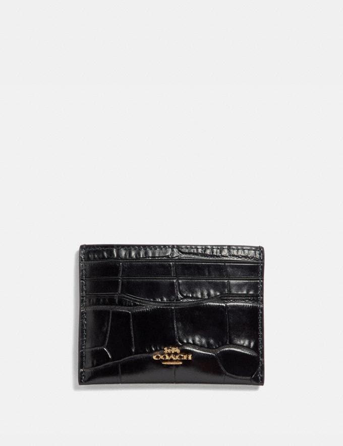 Coach Card Case Midnight Navy/Gold Women Wallets & Wristlets Small Wallets