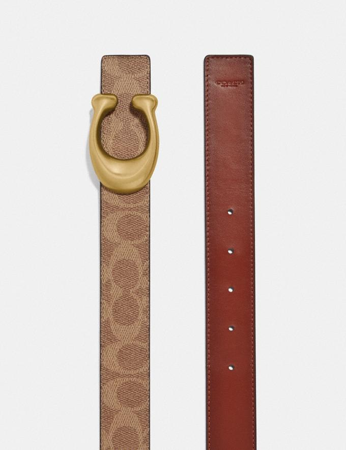 Coach Sculpted Signature Reversible Belt in Signature Canvas Tan/Rust/Brass Women Accessories Belts Alternate View 1