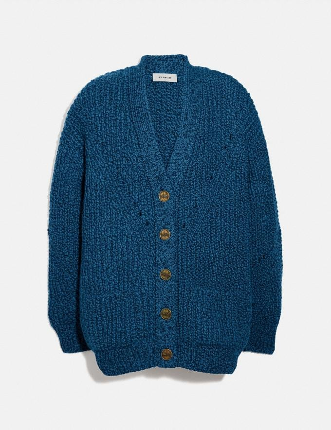 Coach Open Knit Cardigan Navy Women Ready-to-Wear Tops