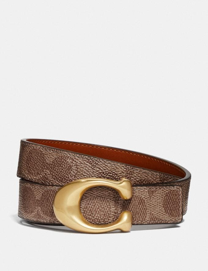 Coach Sculpted Signature Reversible Belt in Signature Canvas B4/Tan Rust Women Accessories Belts