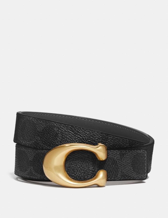 Coach Sculpted Signature Reversible Belt in Signature Canvas B4/Charcoal Midnight Navy Women Accessories Belts