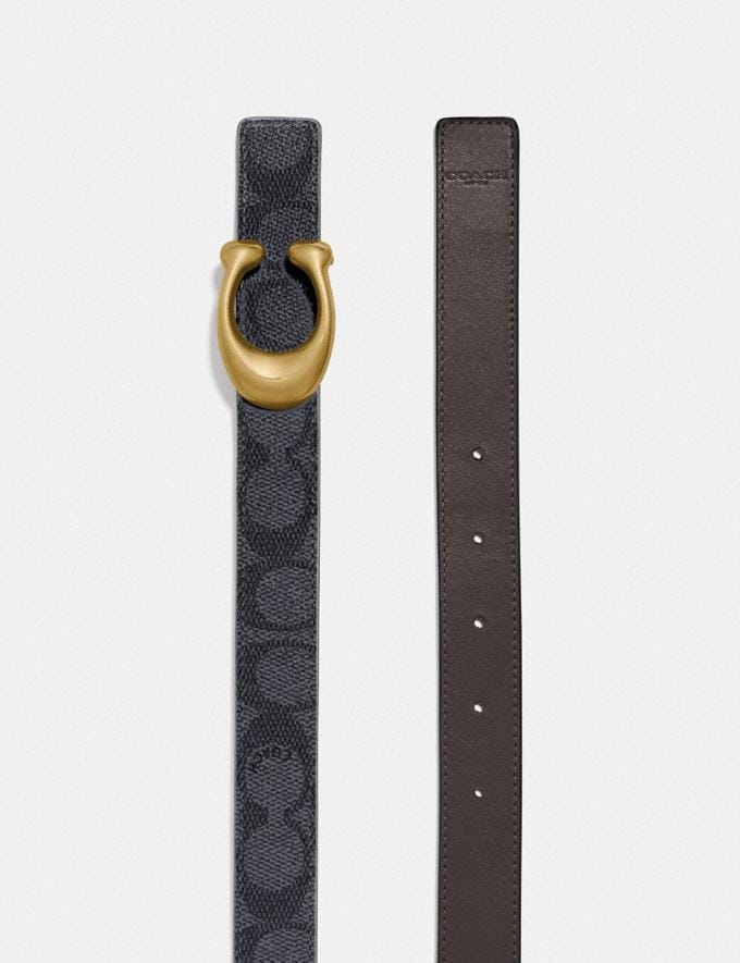 Coach Sculpted Signature Reversible Belt in Signature Canvas B4/Charcoal Midnight Navy Women Accessories Belts Alternate View 1