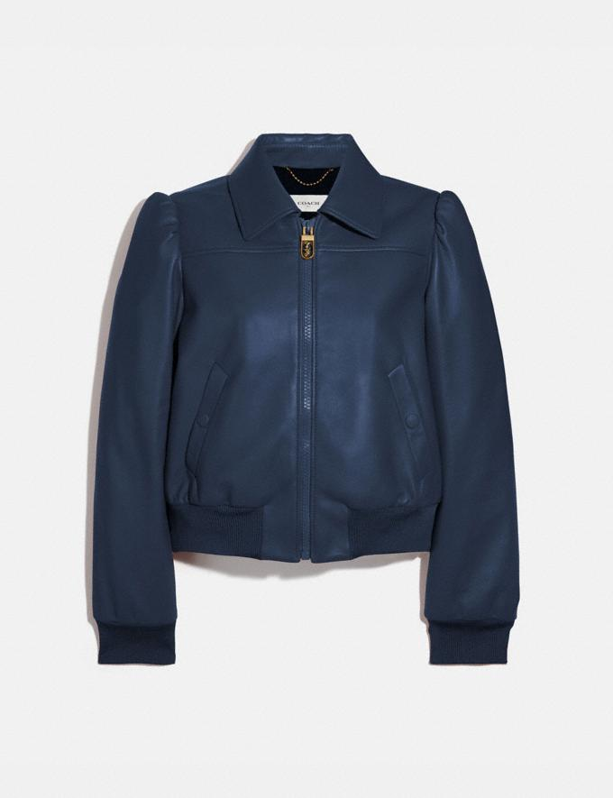 Coach Leather Blouson Jacket Bright Navy Women Ready-to-Wear Coats & Jackets