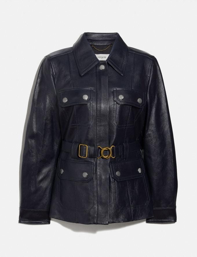 Coach Leather Belted Heritage Jacket Academy Blue Women Ready-to-Wear Jackets & Outerwear