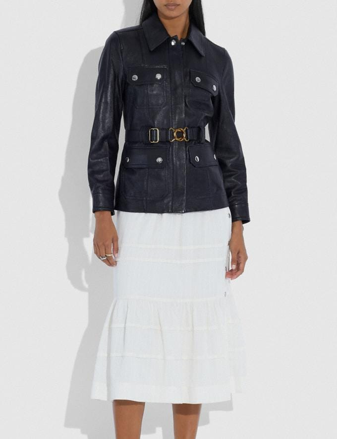 Coach Leather Belted Heritage Jacket Academy Blue Women Ready-to-Wear Jackets & Outerwear Alternate View 1