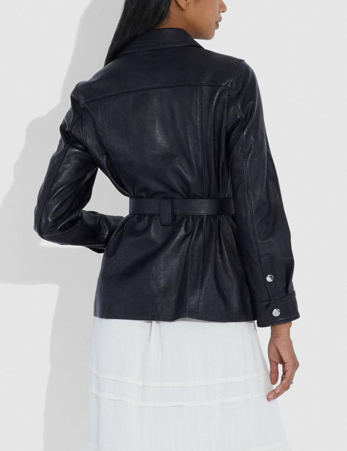 Coach Leather Belted Heritage Jacket Academy Blue Women Ready-to-Wear Coats & Jackets Alternate View 2