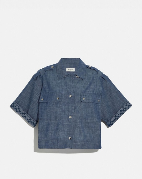 CHEMISE CHAMBRAY COUPE DROITE