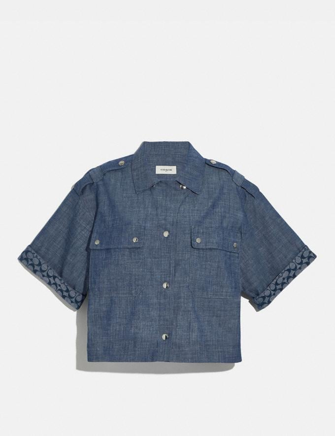 Coach Chambray Boxy Shirt Chambray Women Ready-to-Wear Tops & T-shirts