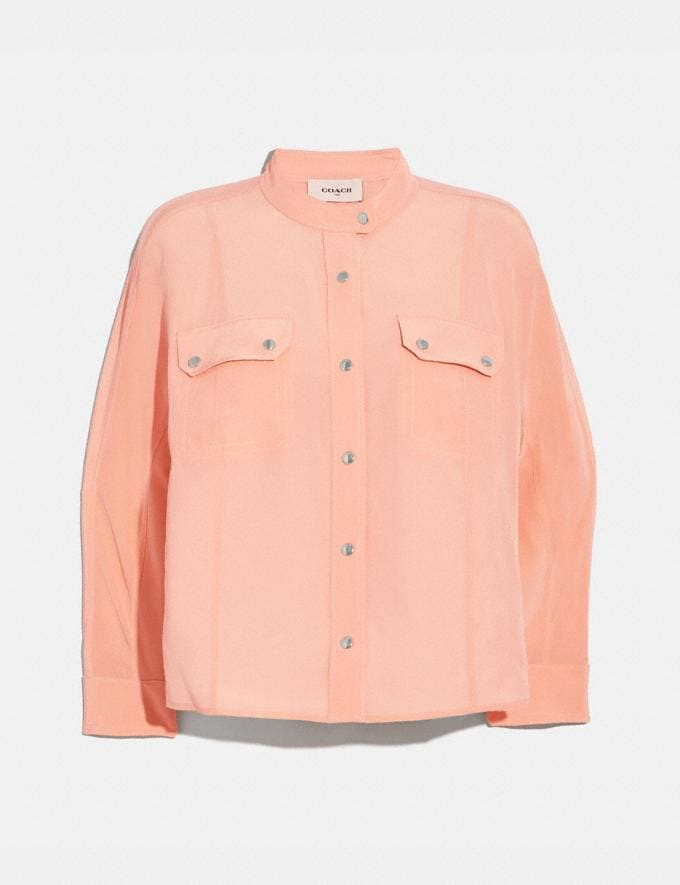 Coach Doman Sleeve Shirt Pink Women Ready-to-Wear Tops & T-shirts