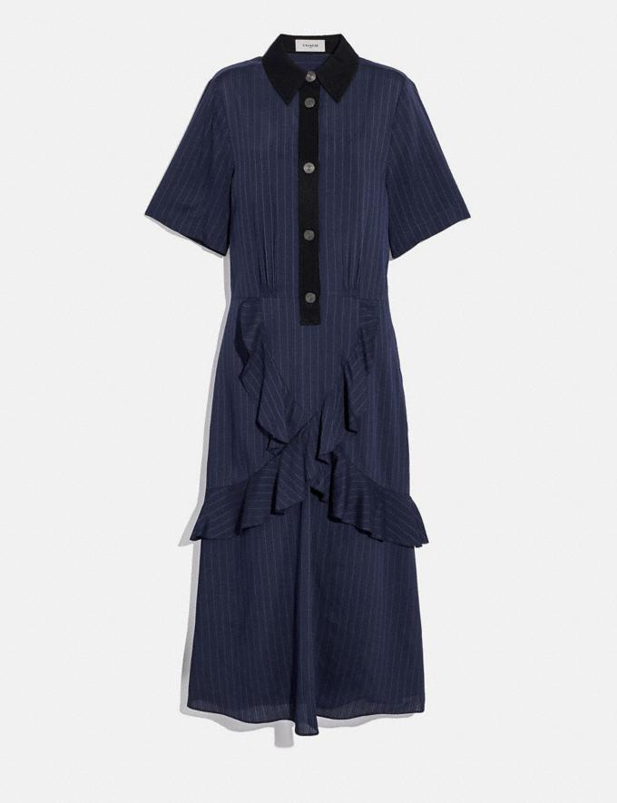 Coach Striped Long Ruffle Shirt Dress Navy Women Edits Work