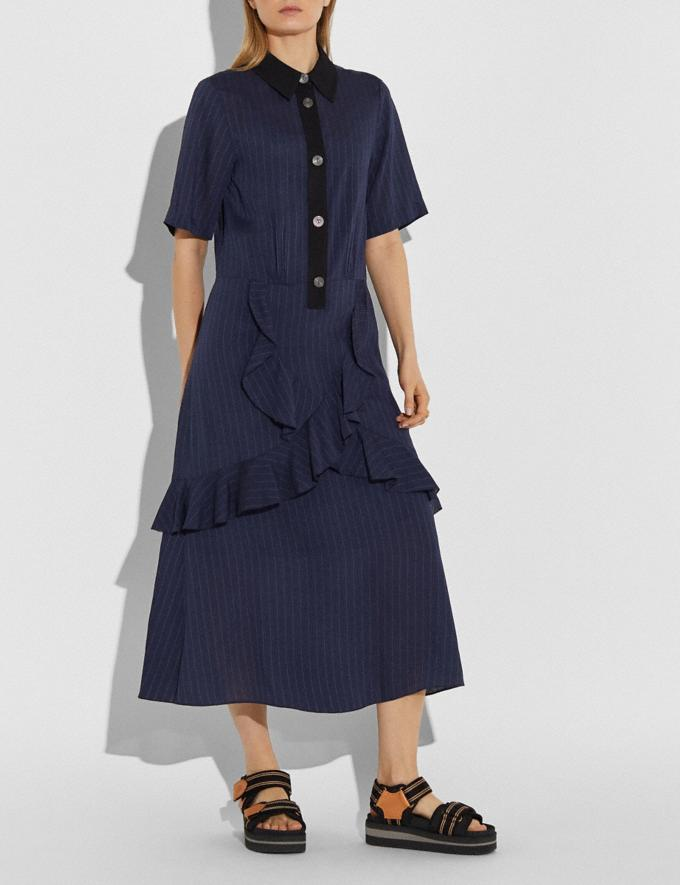 Coach Striped Long Ruffle Shirt Dress Navy Women Edits Work Alternate View 1
