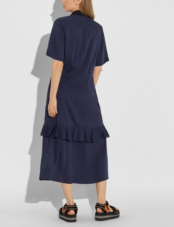 Coach Striped Long Ruffle Shirt Dress Navy Women Edits Work Alternate View 2