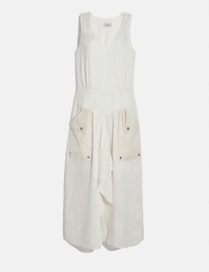 Coach Silk Stripe Long Dress With Snap Pockets Cream