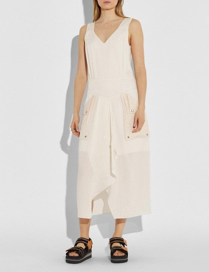 Coach Silk Stripe Long Dress With Snap Pockets Cream Women Ready-to-Wear Dresses Alternate View 1