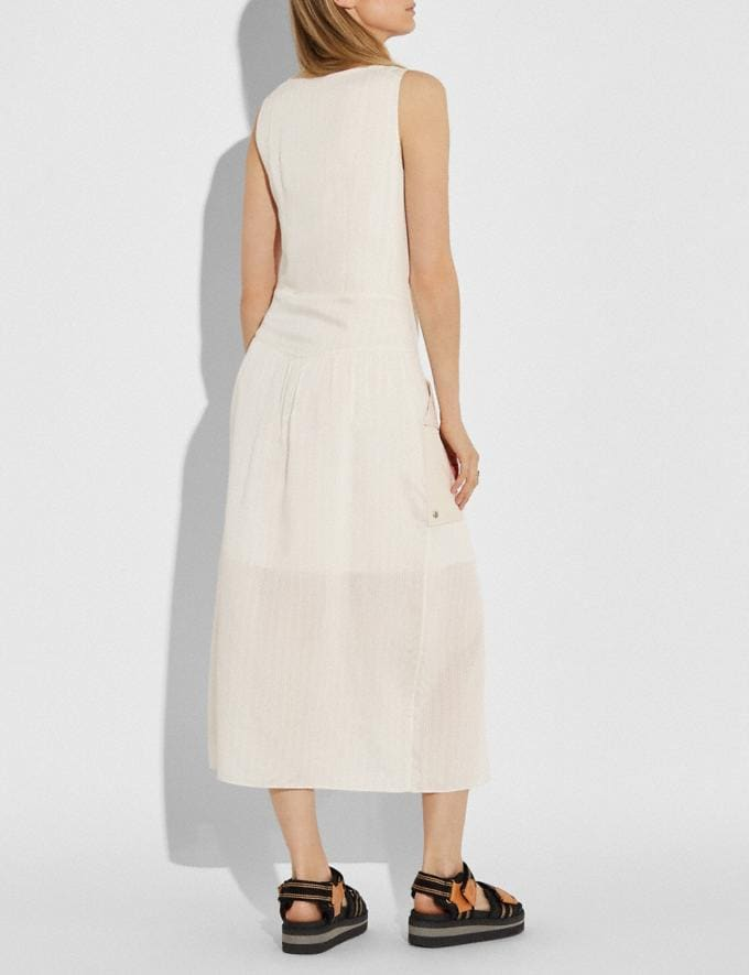 Coach Silk Stripe Long Dress With Snap Pockets Cream  Alternate View 2
