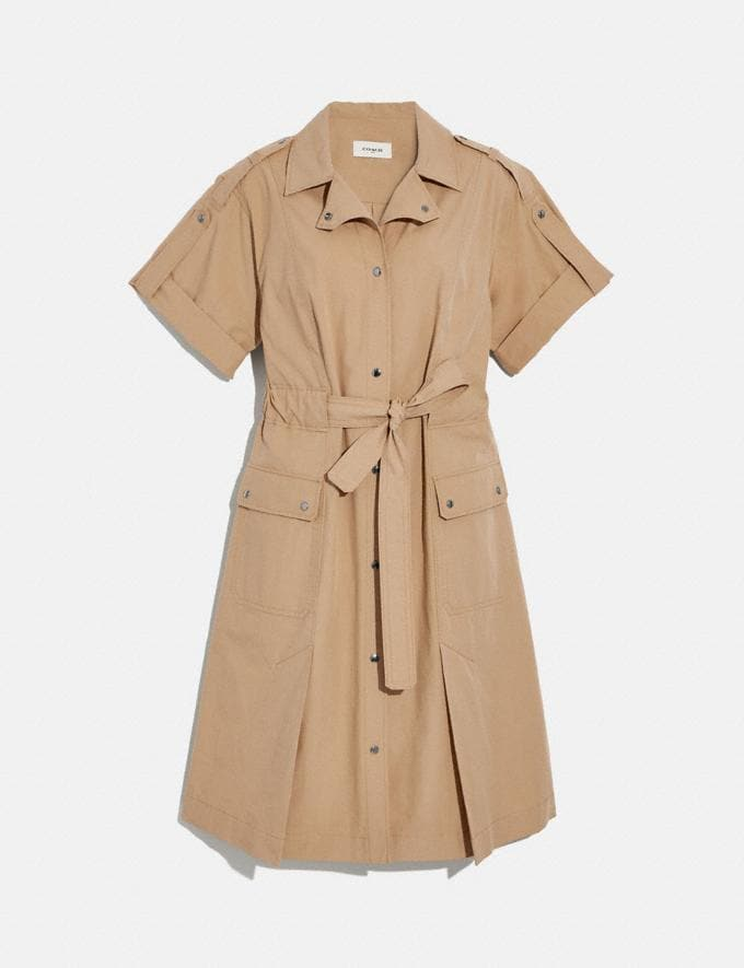 Coach Cotton Tie Waist Shirt Dress Khaki Women Ready-to-Wear Dresses