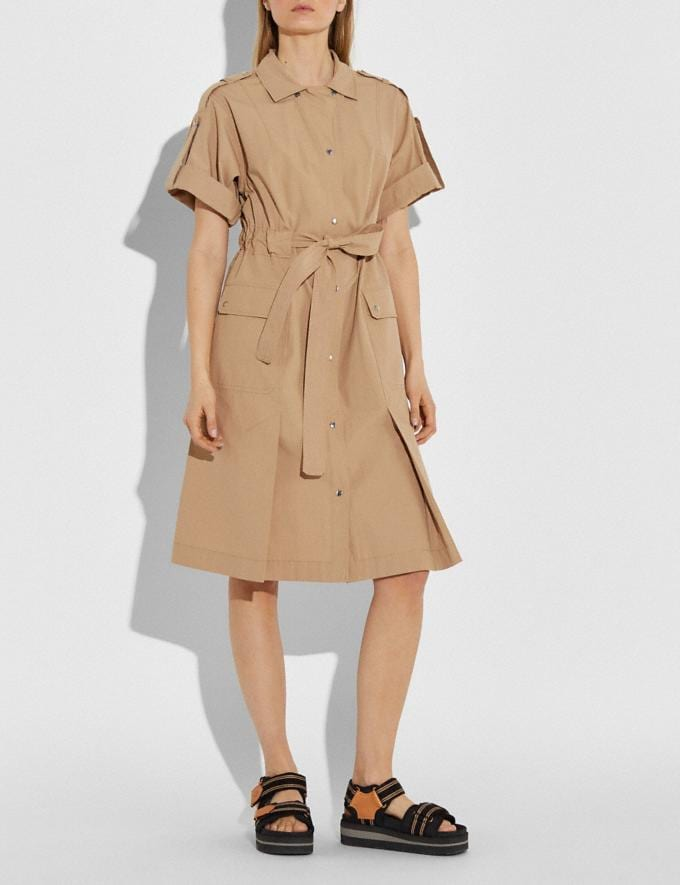 Coach Cotton Tie Waist Shirt Dress Khaki Women Ready-to-Wear Dresses Alternate View 1