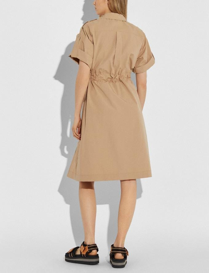 Coach Cotton Tie Waist Shirt Dress Khaki Women Ready-to-Wear Dresses Alternate View 2