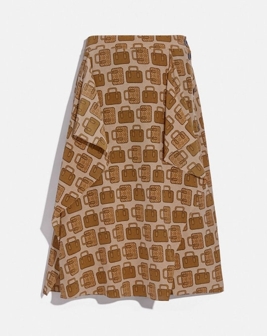 BAG PRINT DRAPED MIDI SKIRT