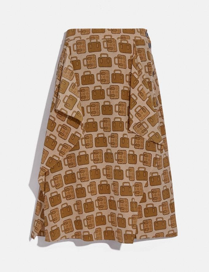 Coach Bag Print Draped Midi Skirt Tan Women Ready-to-Wear Bottoms