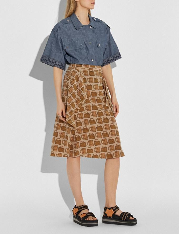 Coach Bag Print Draped Midi Skirt Tan New Women's New Arrivals Ready-to-Wear Alternate View 1